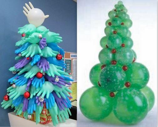Sapins Noël gonflables en gants et ballons
