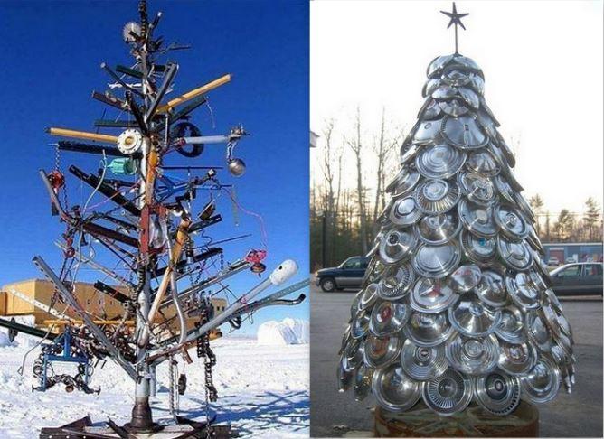 Sapins Noël en matériaux recyclés...du recyclage déco !