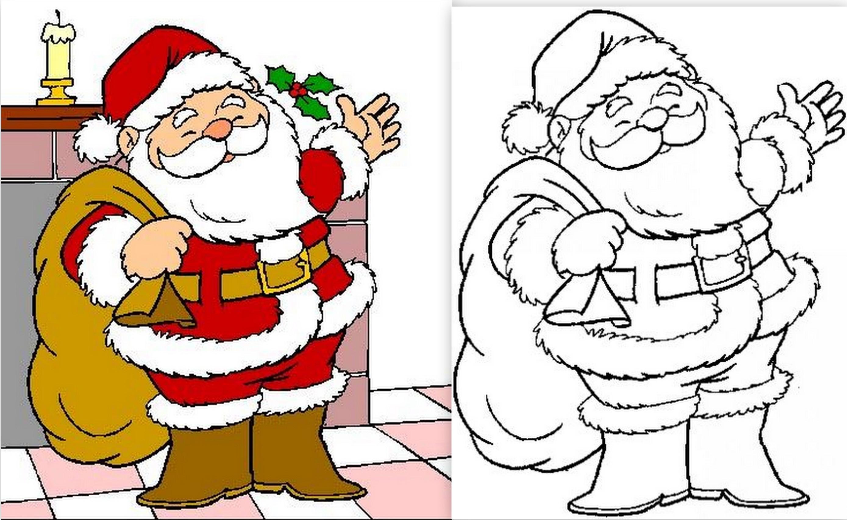 Modèles de Père Noël à dessiner, colorier ou découper !