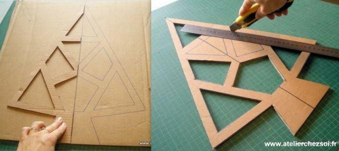 Faire un sapin de no l en carton les tutos - Fabrication sapin de noel en carton ...