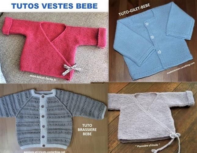 Tutoriels tricoter une veste pour Bébé : 4 tutos