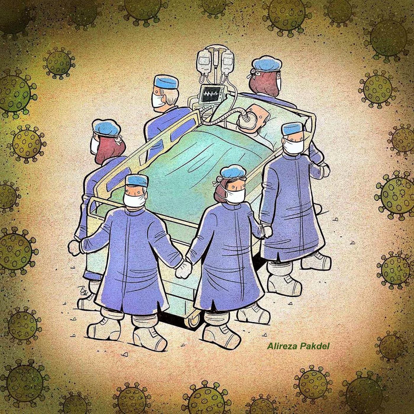 Dessins coronavirus en hommage au personnel soignant