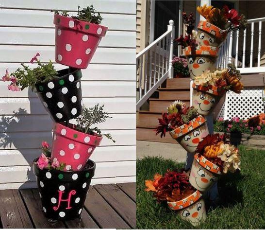 les pots de fleurs encastr s au jardin. Black Bedroom Furniture Sets. Home Design Ideas