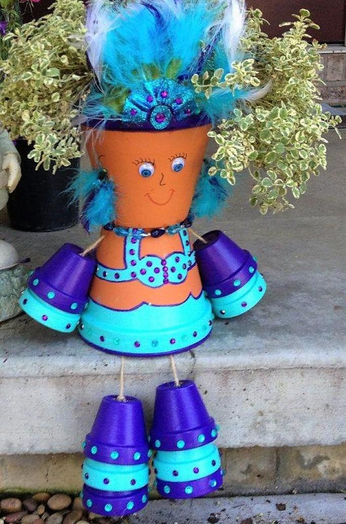 Créations personnages en pots de fleurs