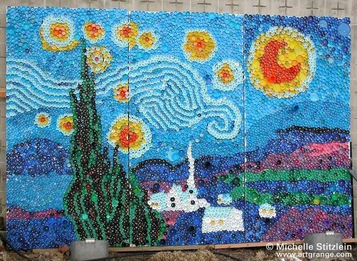 Fresques murales avec des bouchons en plastique for Bottle cap mural tutorial