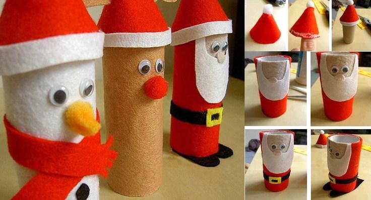 Faire des personnages de no l avec de la r cup - Sapin de noel en rouleau papier toilette ...