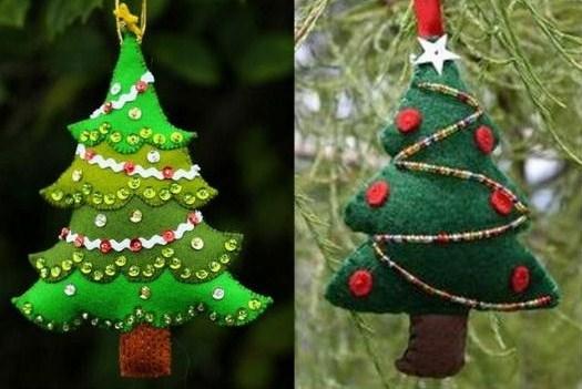 Jolis modèles de petits sapins de Noël en feutrine.