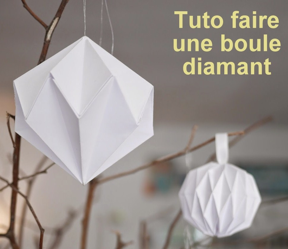 faire des boules de no l diamant en papier les tutos. Black Bedroom Furniture Sets. Home Design Ideas