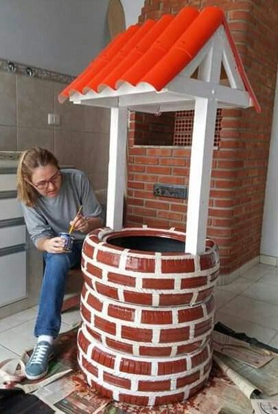Faire un puits avec des pneus for Puits de decoration exterieur