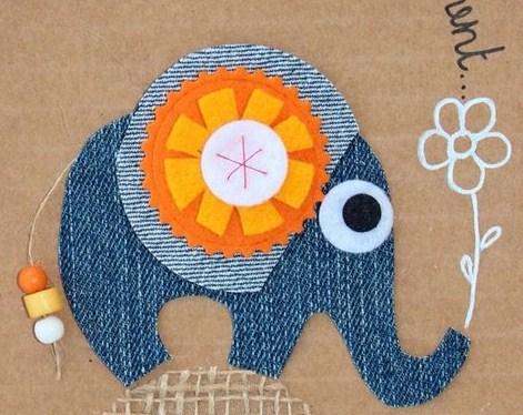 Créations animaux en jeans recyclés