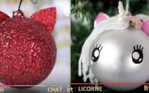Boules de Noël customisées en boules Noël Chat et Licorne