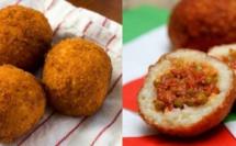 Arancini, boules de riz panées frites
