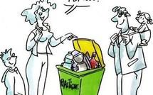 """Dessins humoristiques """"le recyclage"""" des déchets !"""
