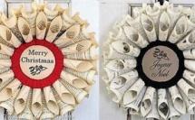Faire une couronne de Noël en papier journal !