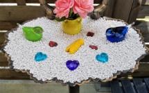 Fontaine pour oiseaux recyclée en bassin décoratif