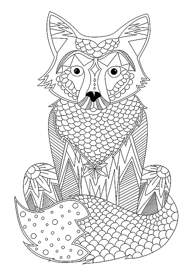 Dessin renard coloriage adulte coloriage anti stress - Album coloriage adulte ...